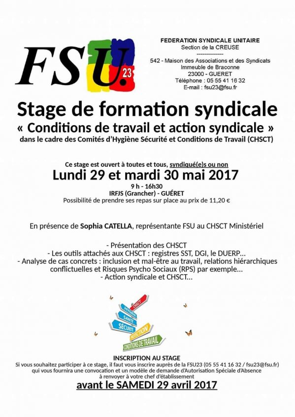 Stage syndical - Conditions de travail et action syndicale - 29 et 30 mai (...)